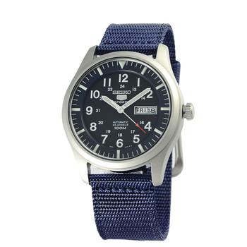 SEIKO 5號新世代陸戰隊帆布機械錶-日本版(SNZG11-藍色)