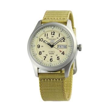 SEIKO 5號新世代陸戰隊帆布機械錶-日本版(SNZG07-卡其色)