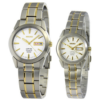 SEIKO 鈦金屬經典半金對錶(SGG733SXA115-白面)