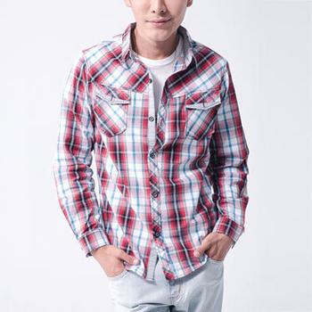 MAKER NET 雙色間隔格紋長袖襯衫-共兩色(紅L)