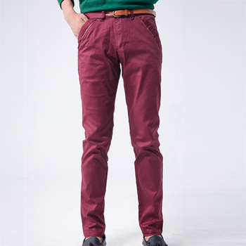 MAKER NET 皮革拼接口袋合身褲(附皮帶)-共兩色(紅32)