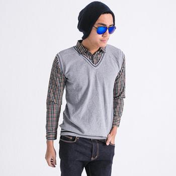 FATAN 學院假兩件背心格紋長袖襯衫-共二色(灰)