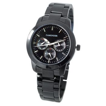 CAMONDER卡蒙迪 K068時尚黑潮三眼個性腕錶-中性錶(黑色)
