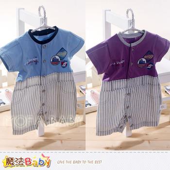 魔法Baby 百貨專櫃正品寶寶連身衣(紫.藍)~k33656(藍/6個月)