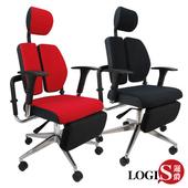 《LOGIS》林肯坐臥2用雙背護腰機能電腦辦公椅(黑置腳台)