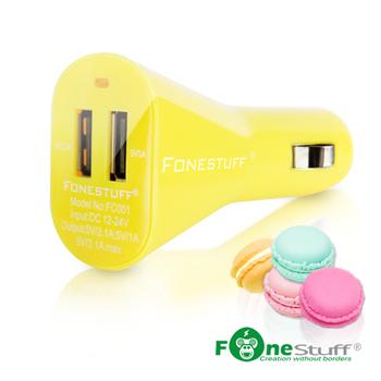 瘋金剛Fonestuff 5V/3.1A雙USB車充(福利品)(蜂蜜黃)