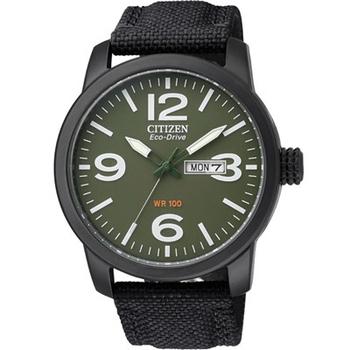 CITIZEN Eco-Drive 軍事計畫日期光動能腕錶BM8475-00X(綠x尼龍錶帶/42mm)