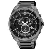 《CITIZEN》率性雅爵光動能三環計時腕錶AT2155-58E(IP黑/44mm)
