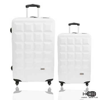 ★結帳現折★Just Beetle 趣味巧克力系列ABS輕硬殼28吋+20吋旅行箱/行李箱(白)