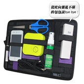 攜帶式收納袋 多功能旅行彈性收納板 行李掛袋 平板收納(黑色)