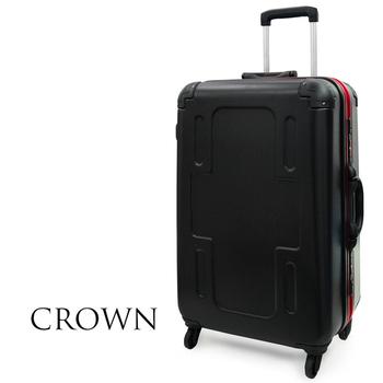 CROWN 皇冠 全新系列 27吋霧面防刮十字款彩框行李箱(紅框)