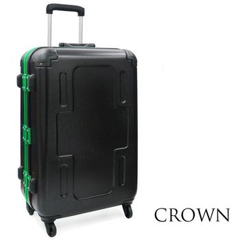 CROWN 皇冠 全新系列 29吋霧面防刮十字款彩框行李箱(綠框)