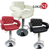《LOGIS》狄尼洛吧台高腳皮椅2入-三色(黑+黑)