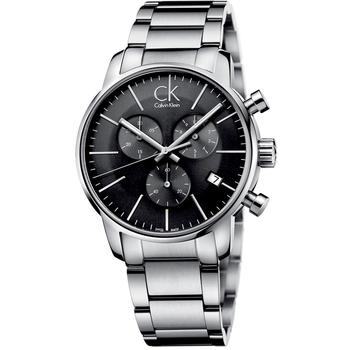 Calvin Klein 時尚紐約計時鋼帶腕錶(K2G27143-黑色)