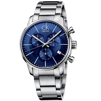 Calvin Klein Calvin Klein 時尚紐約計時鋼帶腕錶(K2G2714N-藍色)