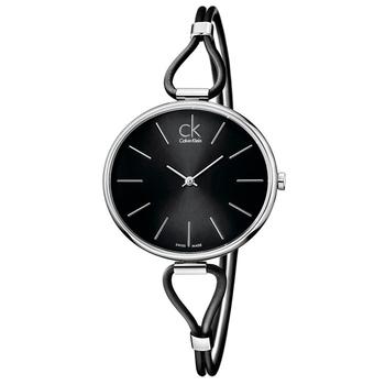 Calvin Klein Ladies 時尚仕女皮環錶(K3V231C1-黑色)