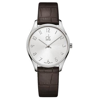 Calvin Klein Classic 簡約經典皮帶錶-中型(K4D221G6-銀白數字)