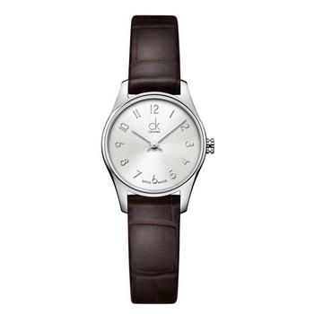 Calvin Klein Classic 簡約經典皮帶女錶(K4D231G6 -銀白數字)