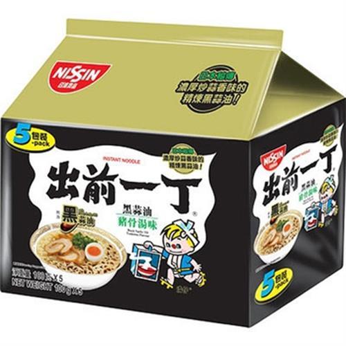 日清 出前一丁黑蒜油豬骨湯味速食麵(100g*5包/組)