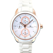 《MAX MAX》時下潮流三眼時尚腕錶-白金MAS7003S-4
