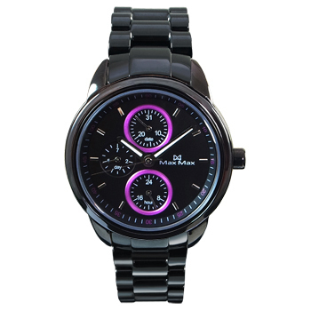 《MAX MAX》時下潮流三眼時尚腕錶-黑紫MAS7003S-1