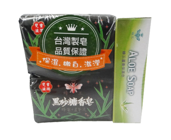 蜂王 黑砂糖香皂+蘆薈香皂((80g+90g)/組)