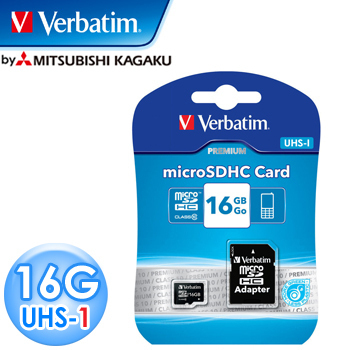 Verbatim 威寶 UHS-1 16GB microSDHC 記憶卡(含轉卡)