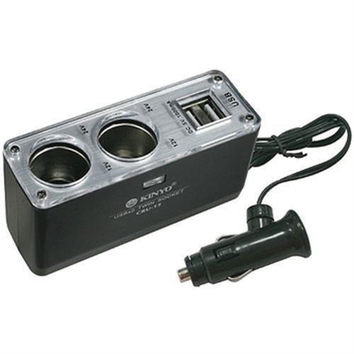 KINYO 2孔點煙器擴充座+2孔USB充電槽 CRU-15