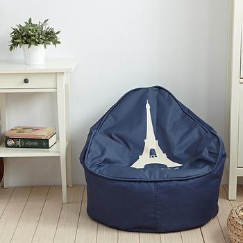嘟嘟鐵塔~圓弧扶手懶骨頭沙發椅(法國藍)