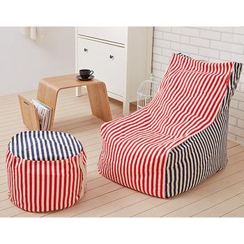 紅藍寶石懶骨頭沙發組 (L型主椅+椅凳)
