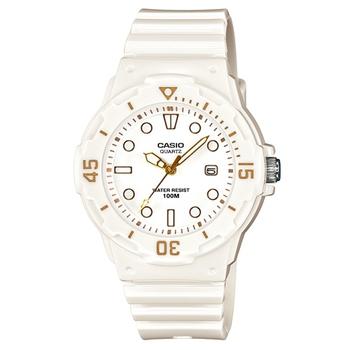 CASIO 魅力潛水風格型女腕錶(白面/金色指針)