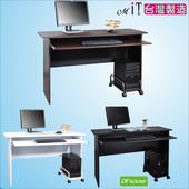 《DFhouse》黑森林附鍵盤電腦桌(附主機架)-三色可選(黑色)
