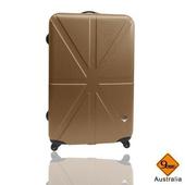 《Gate9》米字英倫系列24吋輕硬殼旅行箱/行李箱(古銅金)
