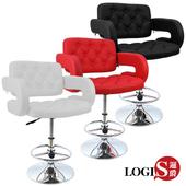 《LOGIS》狄尼洛低吧檯椅皮椅-三色(黑)