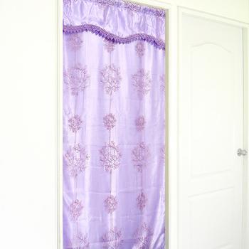 布安於室 天空樹雙層刺繡長門簾-紫色-加贈門簾桿