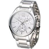 《Calvin Klein》極速風潮三眼計時鋼帶腕錶-白 K2H27126