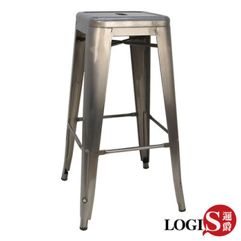 LOGIS 複刻版Tolix stool復古高腳鐵椅(鐵色)