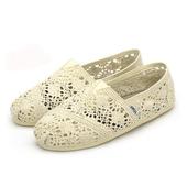 《Alice韓系館》【預購】花樣年華蕾絲鉤花鏤空懶人鞋-米(米36)
