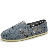 《Alice韓系館》【預購】花樣年華蕾絲鉤花鏤空懶人鞋(灰35)
