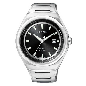 CITIZEN Eco-Drive 鈦金屬光動能紳士腕錶-黑/43mm-AW1251-51E(AW1251-51E)