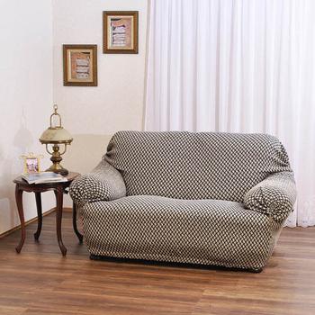 歐卓拉 千鳥紋彈性沙發便利套-3人座(黑)