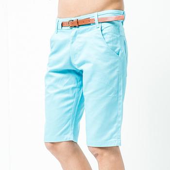 FATAN 皮革造型皮帶紳士短褲-共二色(淺藍32)