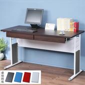 《Homelike》巧思辦公桌 亮白系列-胡桃加厚桌面140cm(附抽屜*2)(深灰色)