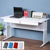 《Homelike》巧思辦公桌 亮白系列-白色加厚桌面140cm(附抽屜*2)(純白色)
