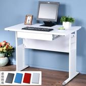 《Homelike》巧思辦公桌 亮白系列-白色加厚桌面100cm(附抽屜)(純白色)