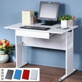 《Homelike》巧思辦公桌 亮白系列-白色亮面烤漆100cm(附抽屜)(純白色)