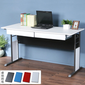 《Homelike》巧思辦公桌 炫灰系列-白色仿馬鞍皮140cm(附抽屜*2)(純白色)