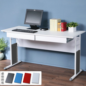 《Homelike》巧思辦公桌 亮白系列-白色仿馬鞍皮140cm(附抽屜*2)(深灰色)