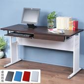 《Homelike》巧思辦公桌 亮白系列-胡桃加厚桌面140cm(附鍵盤架+抽屜)(純白色)