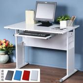 《Homelike》巧思辦公桌 亮白系列-白色亮面烤漆100cm(附鍵盤架)(深灰色)